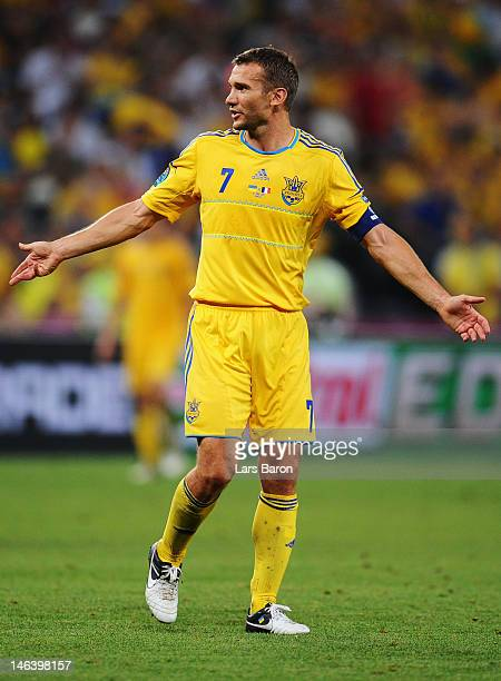 Andriy Shevchenko of Ukraine reacts during the UEFA EURO 2012 group D match between Ukraine and France at Donbass Arena on June 15 2012 in Donetsk...