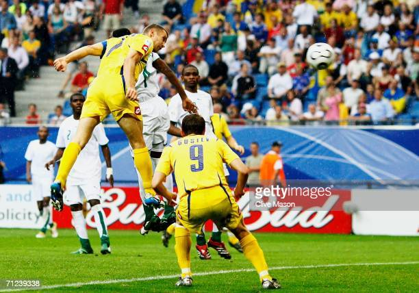 Andriy Shevchenko of Ukraine scores his team's third goal during the FIFA World Cup Germany 2006 Group H match between Saudi Arabia and Ukraine...