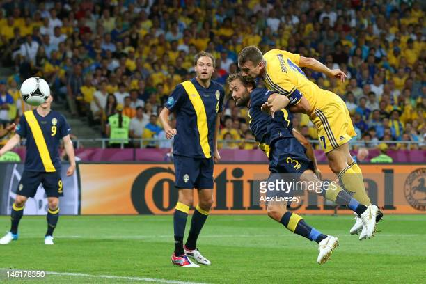 Andriy Shevchenko of Ukraine scores their first goal during the UEFA EURO 2012 group D match between Ukraine and Sweden at The Olympic Stadium on...