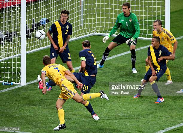 Andriy Shevchenko of Ukraine scores their second goal during the UEFA EURO 2012 group D match between Ukraine and Sweden at The Olympic Stadium on...