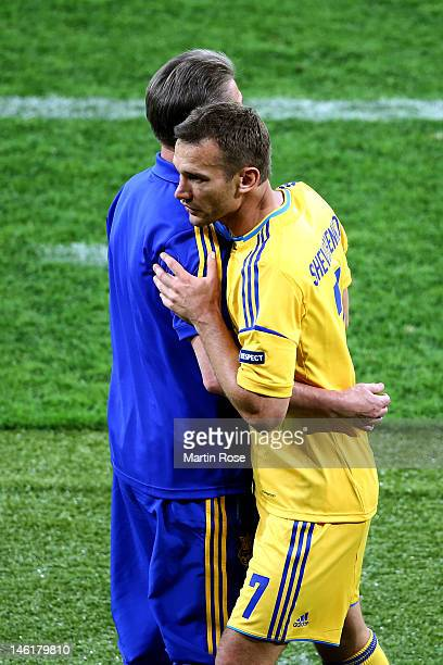 Andriy Shevchenko of Ukraine with Head Coach Oleh Blokhin of Ukraine during the UEFA EURO 2012 group D match between Ukraine and Sweden at The...