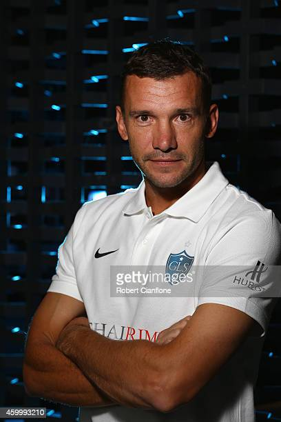 Andriy Shevchenko poses during a Global Legends Series portrait session at the Swissotel on December 5 2014 in Bangkok Thailand