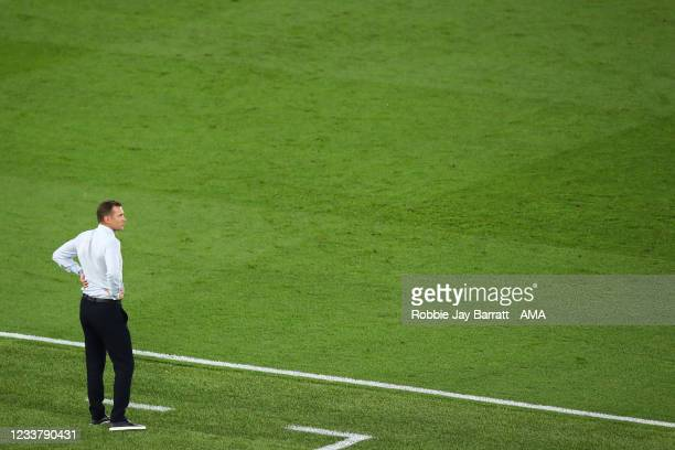 Andriy Shevchenko the head coach / manager of Ukraine during the UEFA Euro 2020 Championship Quarter-final match between Ukraine and England at...