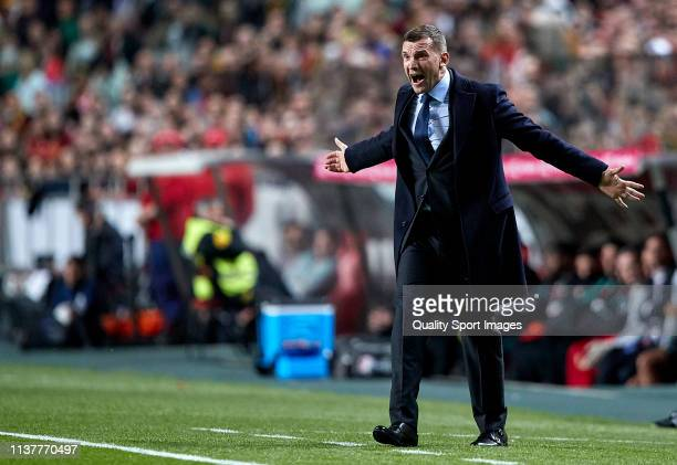 Andriy Shevchenko the manager of Ukraine reacts during the 2020 UEFA European Championships group B qualifying match between Portugal and Ukraine at...