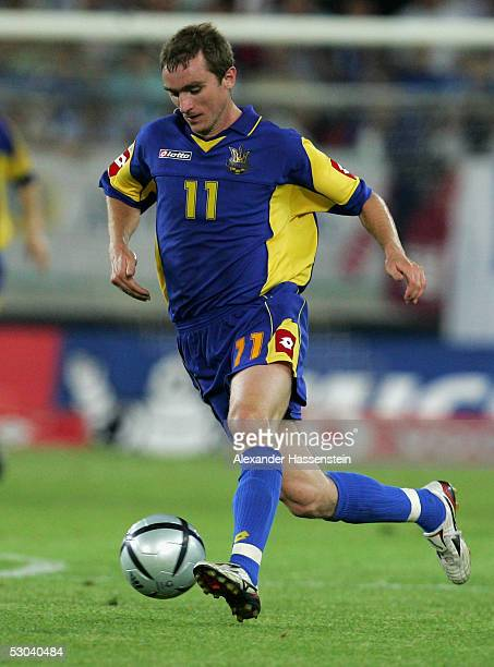 Andriy Vorobey of the Ukraine in action during the FIFA World Cup 2006 Qualifier between Greece and Ukraine on June 8 2005 in Athens Greece