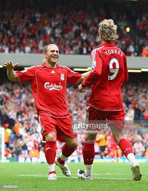 Andriy Voronin of Liverpool celebrates his goal with team mate Fernando Torres during the Barclays Premier League match between Liverpool and Derby...