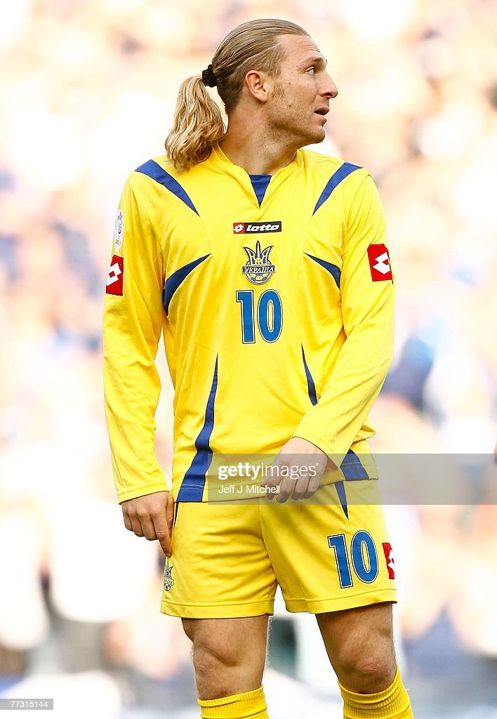 Andriy Voronin of the Ukraine in action during the Euro 2008 Group B qualifying match between Scotland and Ukraine at Hampden Park on October 13, 2007 in Glasgow, Scotland
