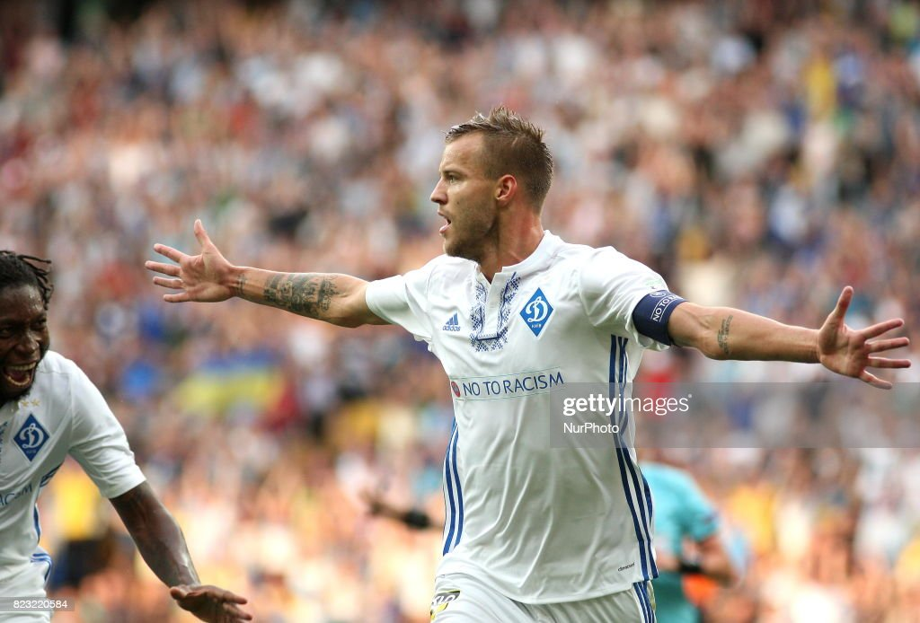 Andriy Yarmolenko Dynamo Kiev's celebrates the goal scored during the match of the third qualifying round of the Champions League between the teams of Dynamo Kiev and Young Boyes at the Olympic Stadium in Kiev. Ukraine, Wednesday, July 26, 2017