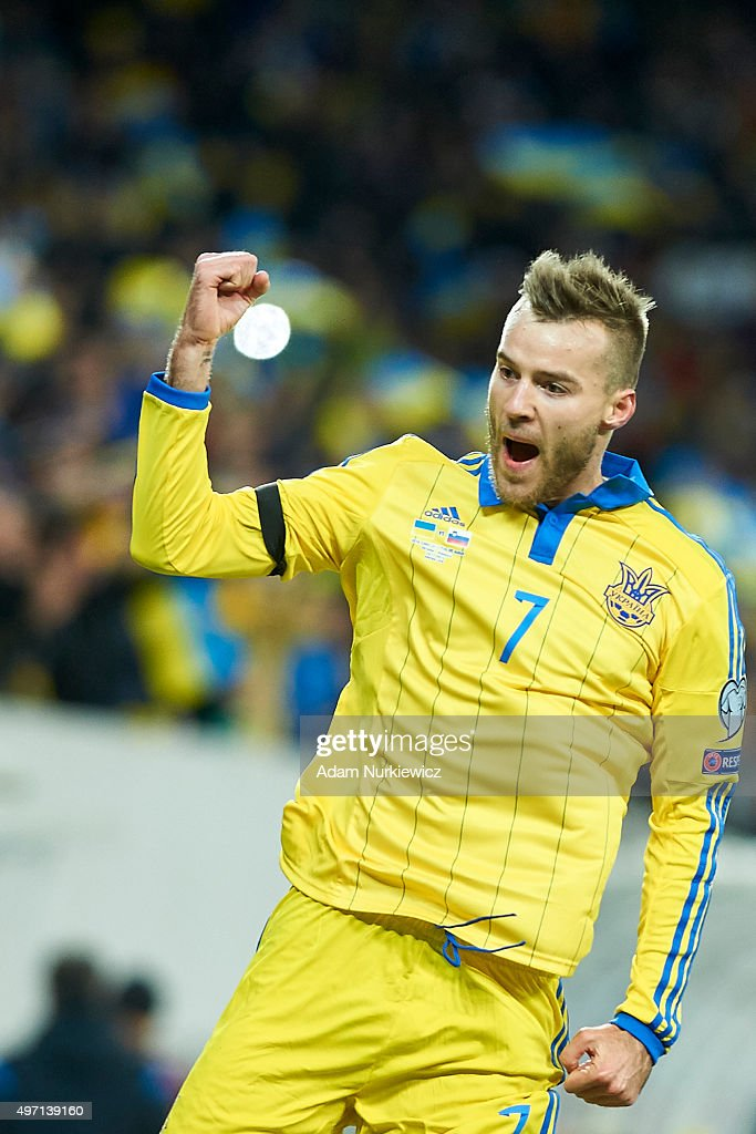Andriy Yarmolenko from Ukraine celebrates after scoring during the UEFA EURO 2016 Play-off for Final Tournament, First leg between Ukraine and Slovenia at Lviv Arena on November 14, 2015 in Lviv, Ukraine.