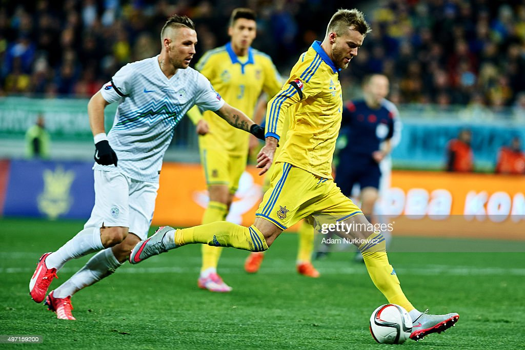 Andriy Yarmolenko from Ukraine scores the first goal during the UEFA EURO 2016 Play-off for Final Tournament, First leg between Ukraine and Slovenia at Lviv Arena on November 14, 2015 in Lviv, Ukraine.