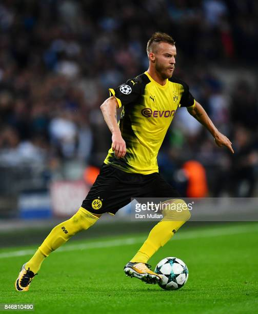 Andriy Yarmolenko of Borussia Dortmund controls the ball during the UEFA Champions League group H match between Tottenham Hotspur and Borussia...