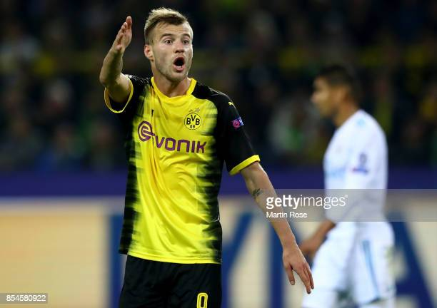 Andriy Yarmolenko of Dortmund gestures during the UEFA Champions League group H match between Borussia Dortmund and Real Madrid at Signal Iduna Park...