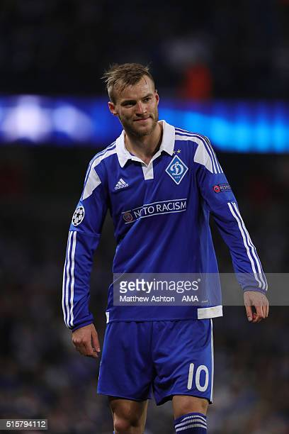 Andriy Yarmolenko of Dynamo Kiev during the UEFA Champions League match between Manchester City and Dynamo Kyiv at the Etihad Stadium on March 15...