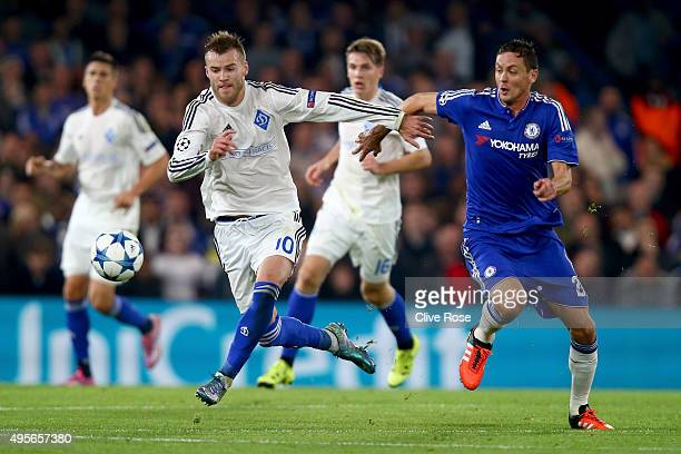 Andriy Yarmolenko of Dynamo Kyiv and Nemanja Matic of Chelsea compete for the ball during the UEFA Champions League Group G match between Chelsea FC...