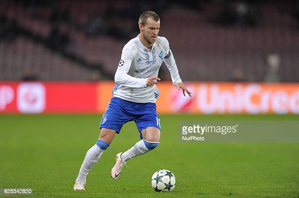 Andriy Yarmolenko of Dynamo Kyiv during the UEFA Champions League group B match between Napoli and Dynamo Kyiv at Stadio San Paolo Naples Italy on 23...