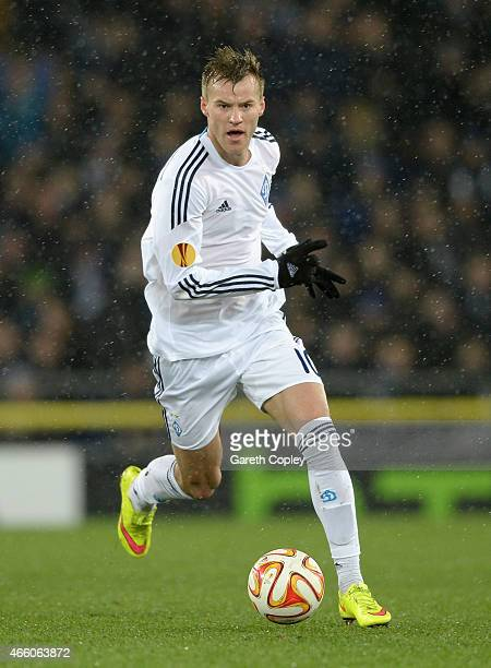 Andriy Yarmolenko of FC Dynamo Kyiv during the UEFA Europa League Round of 16 match between Everton FC and FC Dynamo Kyiv on March 12 2015 in...