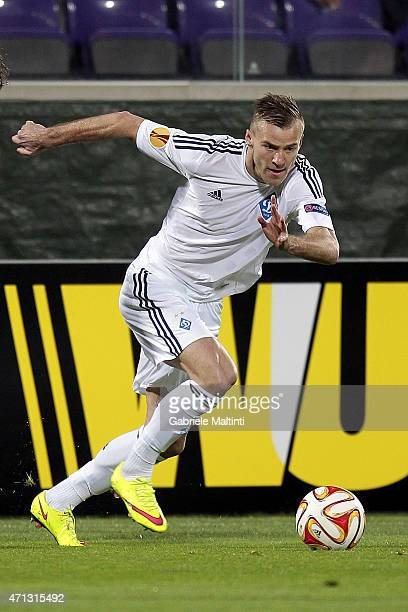 Andriy Yarmolenko of FC Dynamo Kyiv in action during the UEFA Europa League Quarter Final match between ACF Fiorentina and FC Dynamo Kyiv on April 23...