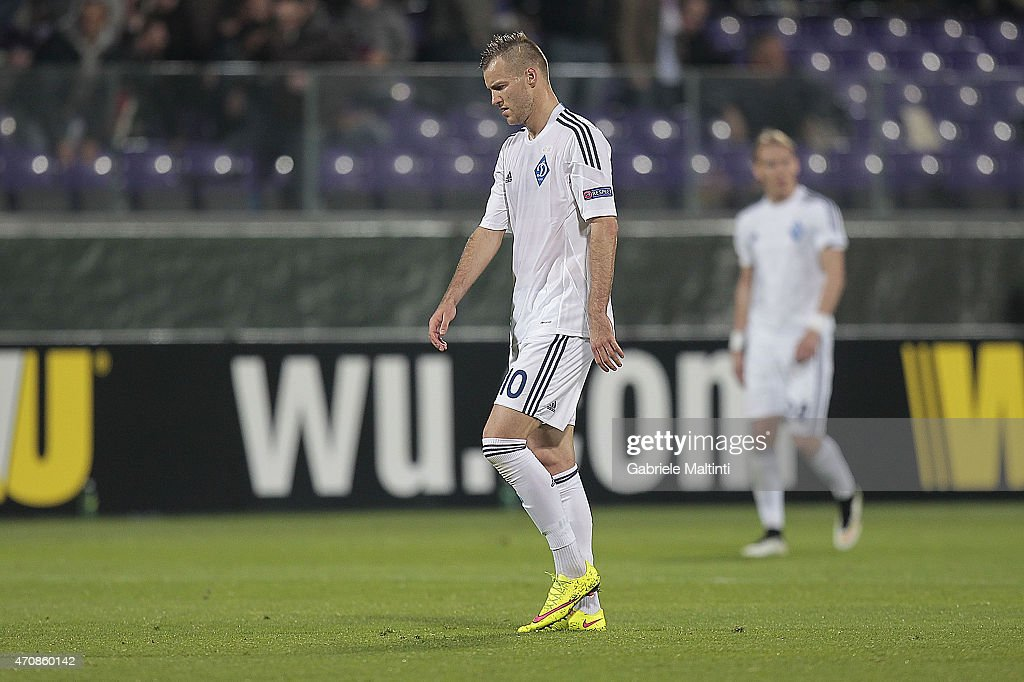 Andriy Yarmolenko of FC Dynamo Kyiv shows his dejection during the UEFA Europa League Quarter Final match between ACF Fiorentina and FC Dynamo Kyiv on April 23, 2015 in Florence, Italy.