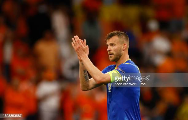 Andriy Yarmolenko of Ukraine applauds the fans after the UEFA Euro 2020 Championship Group C match between Netherlands and Ukraine at the Johan...