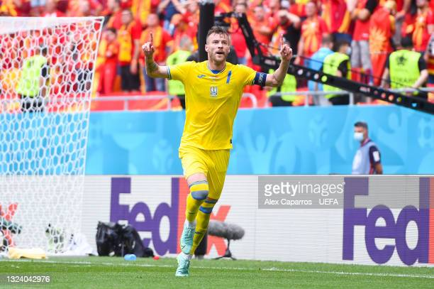 Andriy Yarmolenko of Ukraine celebrates after scoring their side's first goal during the UEFA Euro 2020 Championship Group C match between Ukraine...
