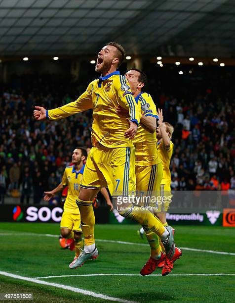 Andriy Yarmolenko of Ukraine celebrates his goal and qualification during the UEFA EURO 2016 qualifier playoff second leg match between Slovenia and...