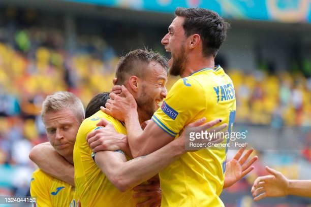 Andriy Yarmolenko of Ukraine celebrates with Roman Yaremchuk after scoring their side's first goal during the UEFA Euro 2020 Championship Group C...