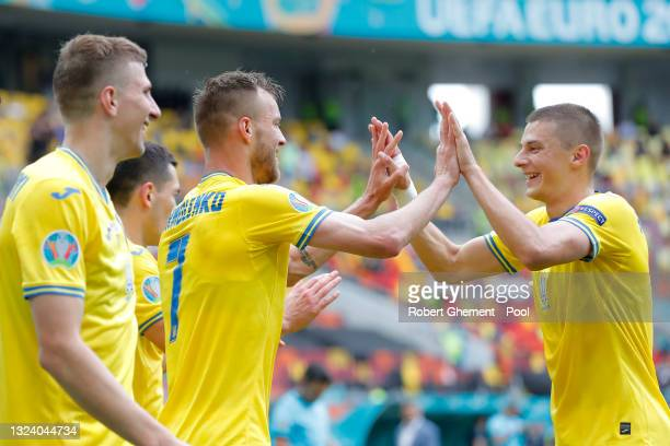 Andriy Yarmolenko of Ukraine celebrates with team mates after scoring their side's first goal during the UEFA Euro 2020 Championship Group C match...