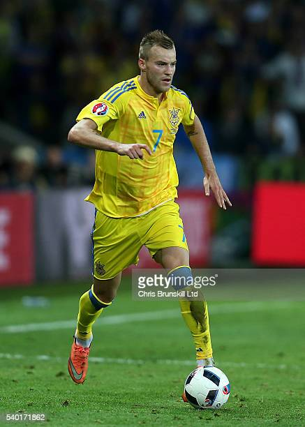 Andriy Yarmolenko of Ukraine in action during the UEFA Euro 2016 Group C match between Germany and Ukraine at Stade PierreMauroy on June 12 2016 in...