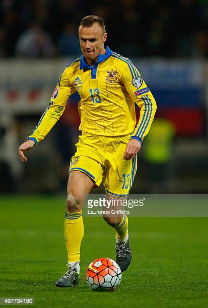 Andriy Yarmolenko of Ukraine in action during the UEFA EURO 2016 qualifier playoff second leg match between Slovenia and Ukraine at Ljudski Vrt...
