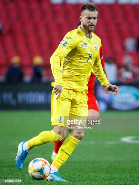 Andriy Yarmolenko of Ukraine in action during the UEFA Euro 2020 Qualifier between Serbia and Ukraine on November 17, 2019 in Belgrade, Serbia.