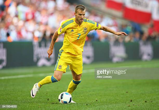 Andriy Yarmolenko of Ukraine in action the UEFA EURO 2016 Group C match between Ukraine and Poland at Stade Velodrome on June 21 2016 in Marseille...