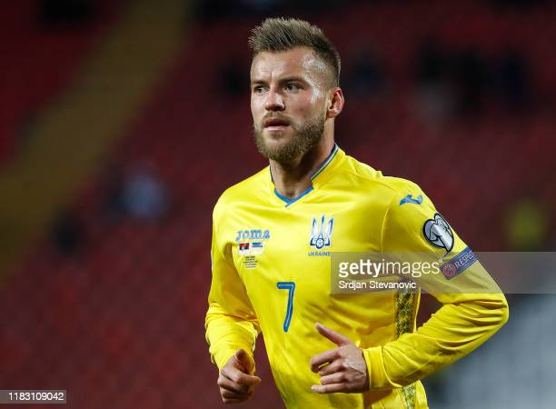 Andriy Yarmolenko of Ukraine looks on during the UEFA Euro 2020 Qualifier between Serbia and Ukraine on November 17, 2019 in Belgrade, Serbia.
