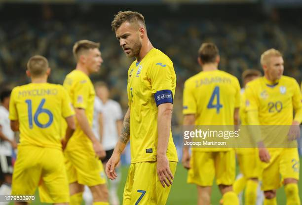 Andriy Yarmolenko of Ukraine reacts during the UEFA Nations League group stage match between Ukraine and Germany at NSC Olimpiyskiy Stadium on...