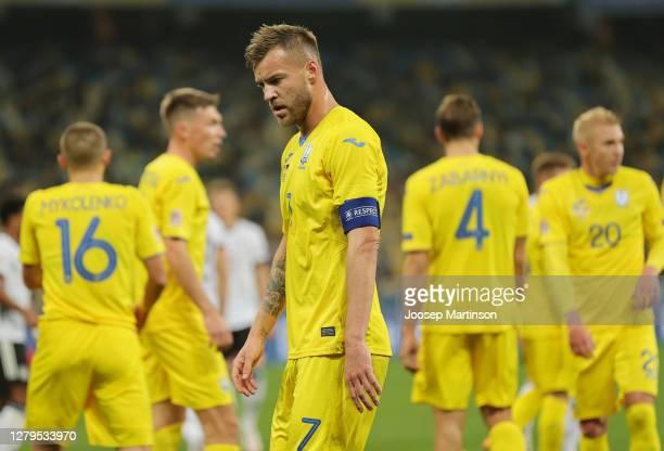 Andriy Yarmolenko of Ukraine reacts during the UEFA Nations League group stage match between Ukraine and Germany at NSC Olimpiyskiy Stadium on...