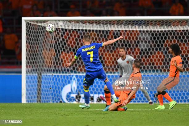 Andriy Yarmolenko of Ukraine scores their side's first goal during the UEFA Euro 2020 Championship Group C match between Netherlands and Ukraine at...