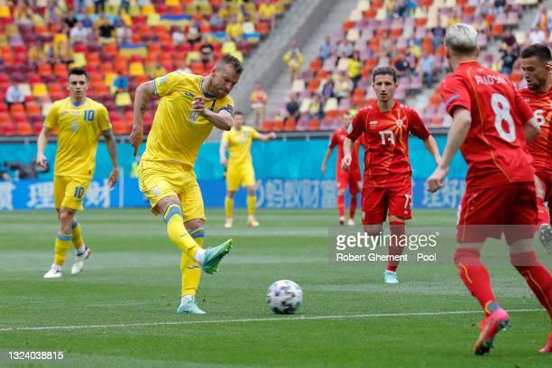 Andriy Yarmolenko of Ukraine shoots during the UEFA Euro 2020 Championship Group C match between Ukraine and North Macedonia at National Arena on...
