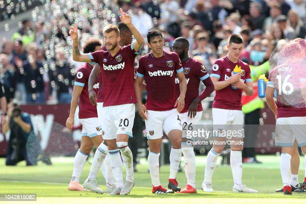 Andriy Yarmolenko of West Ham celebrates scoring their 2nd goal during the Premier League match between West Ham United and Manchester United at...
