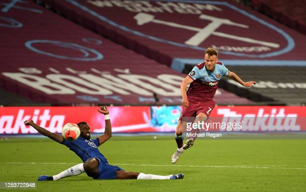 Andriy Yarmolenko of West Ham scores his sides third goal during the Premier League match between West Ham United and Chelsea FC at London Stadium on...