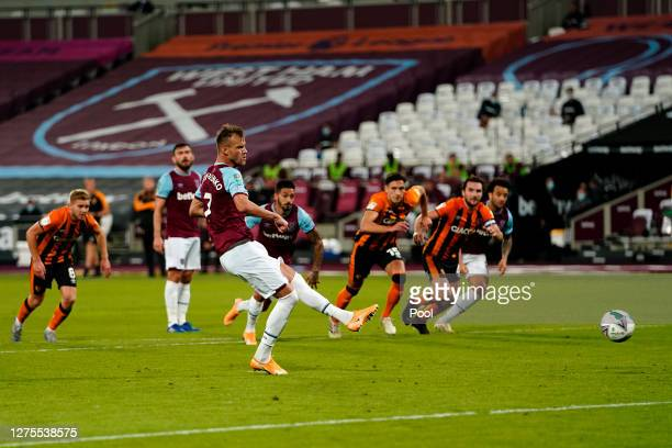 Andriy Yarmolenko of West Ham scores his sides third goal during the Carabao Cup Third Round match between West Ham United and Hull City at London...