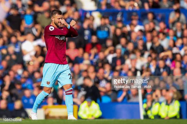 Andriy Yarmolenko of West Ham United celebrates after scoring a goal to make it 02 during the Premier League match between Everton FC and West Ham...