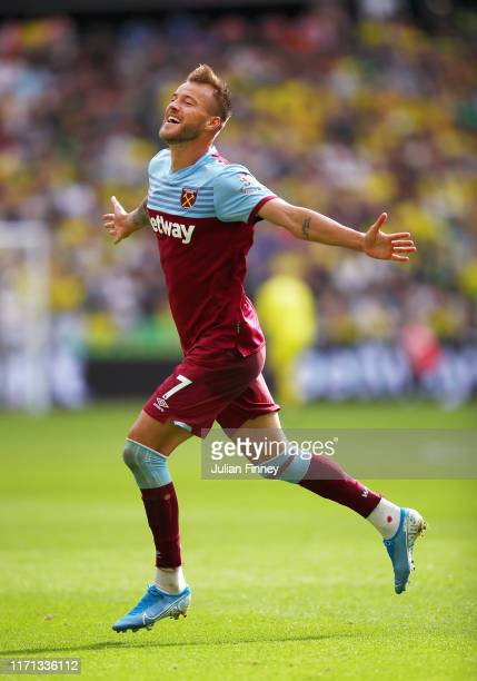 Andriy Yarmolenko of West Ham United celebrates after scoring his team's second goal during the Premier League match between West Ham United and...