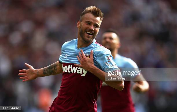 Andriy Yarmolenko of West Ham United celebrates scoring his team's second goal during the Premier League match between West Ham United and Norwich...