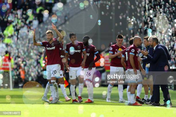 Andriy Yarmolenko of West Ham United celebrates scoring the second West Ham United goal during the Premier League match between West Ham United and...