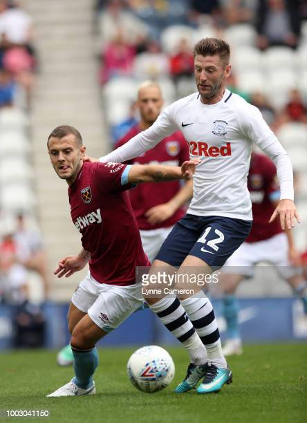 Andriy Yarmolenko of West Ham United drives the ball during the PreSeason Friendly between Preston North End and West Ham United at Deepdale on July...