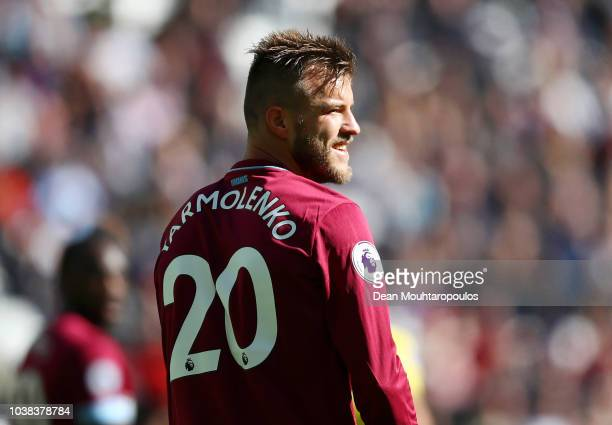 Andriy Yarmolenko of West Ham United looks on during the Premier League match between West Ham United and Chelsea FC at London Stadium on September...