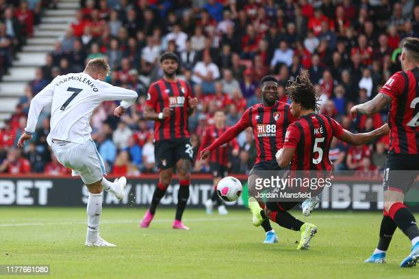Andriy Yarmolenko of West Ham United scores his team's first goal during the Premier League match between AFC Bournemouth and West Ham United at...