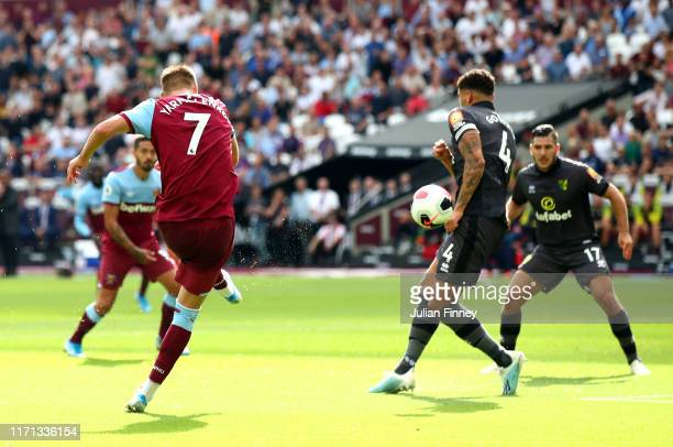 Andriy Yarmolenko of West Ham United scores his team's second goal during the Premier League match between West Ham United and Norwich City at London...