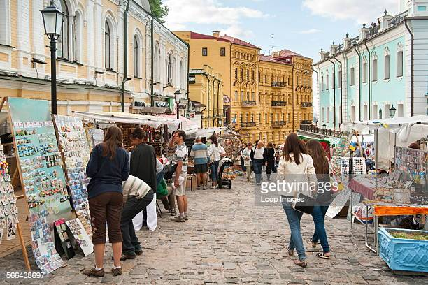 Andriyivskyy Descent which is a famous road with curio stalls in Kiev