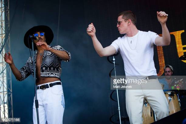 Andro Cowperthwaite and Joshua James LloydWatson of the band Jungle perform at Falls Festival on January 7 2018 in Fremantle Australia