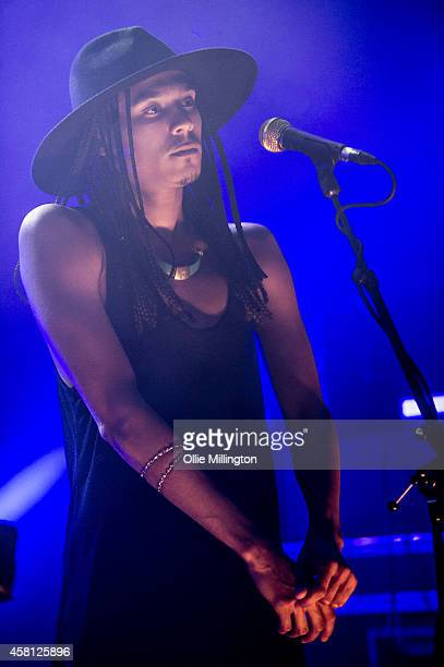 Andro Cowperthwaite of Jungle performs on stage at Shepherds Bush Empire on October 30 2014 in London United Kingdom